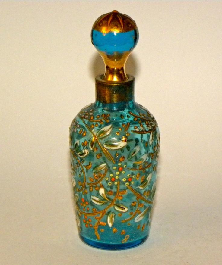ANTIQUE BOHEMIAN MOSER TURQUOISE GLASS ENAMELED PERFUME SCENT BOTTLE