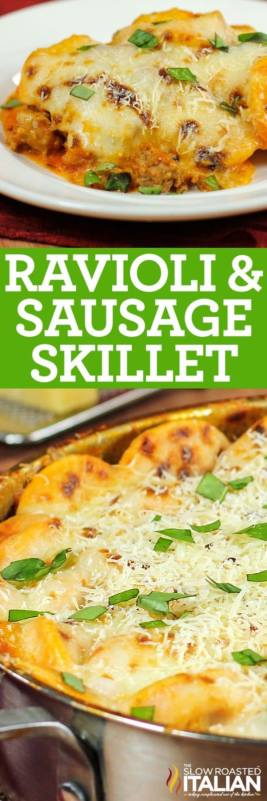 Ravioli and Sausage Skillet in 30 Minutes! Loaded with a mind blowing flavor explosion from pasta, cheese, sausage and tomatoes. My meat and potatoes loving husband insisted that this was the meal I serve at our holiday get togethers.  Looking for an easy recipe that makes an impressive holiday dinner in no time?  Ravioli and Sausage Skillet is it!