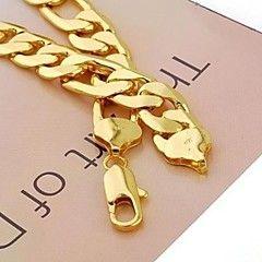 24K желтое золото заполнены мужской ожерелье цепь твердый сс... – USD $ 35.99