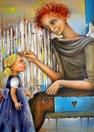 Guardian Angel - oil painting by Monica Blatton