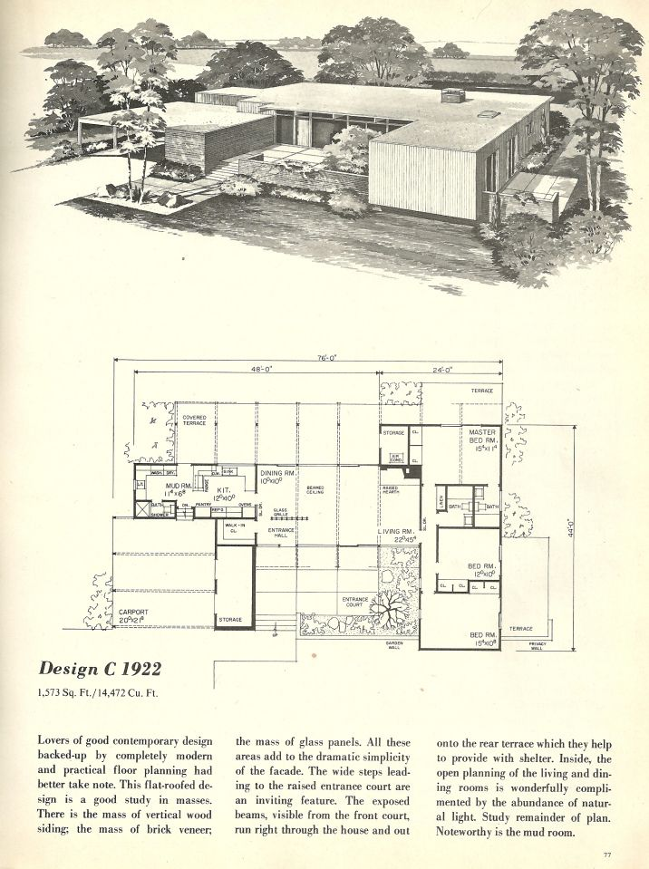 Vintage house plans 1960s homes mid century homes mid century house pinterest spanish Mid century modern home plans