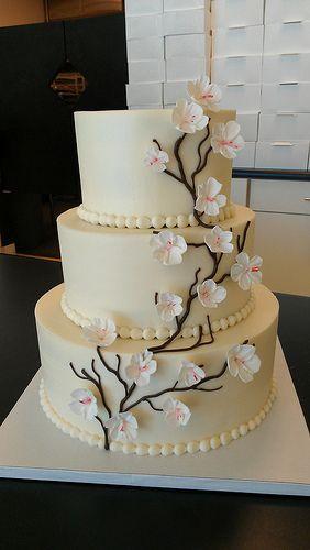 White Cherry Blossoms wedding cake