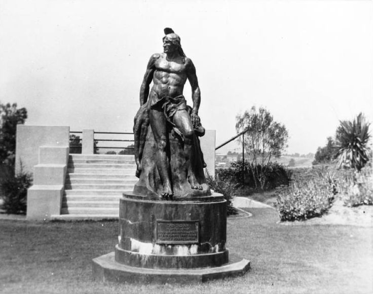 """California Historical Society Collection, 1860-1960 :: Title Insurance and Trust, and C.C. Pierce Photography Collection, 1860-1960 :: """"The Indian"""", a statue by Putnam on Presidio Hill in San Diego, ca.1880"""