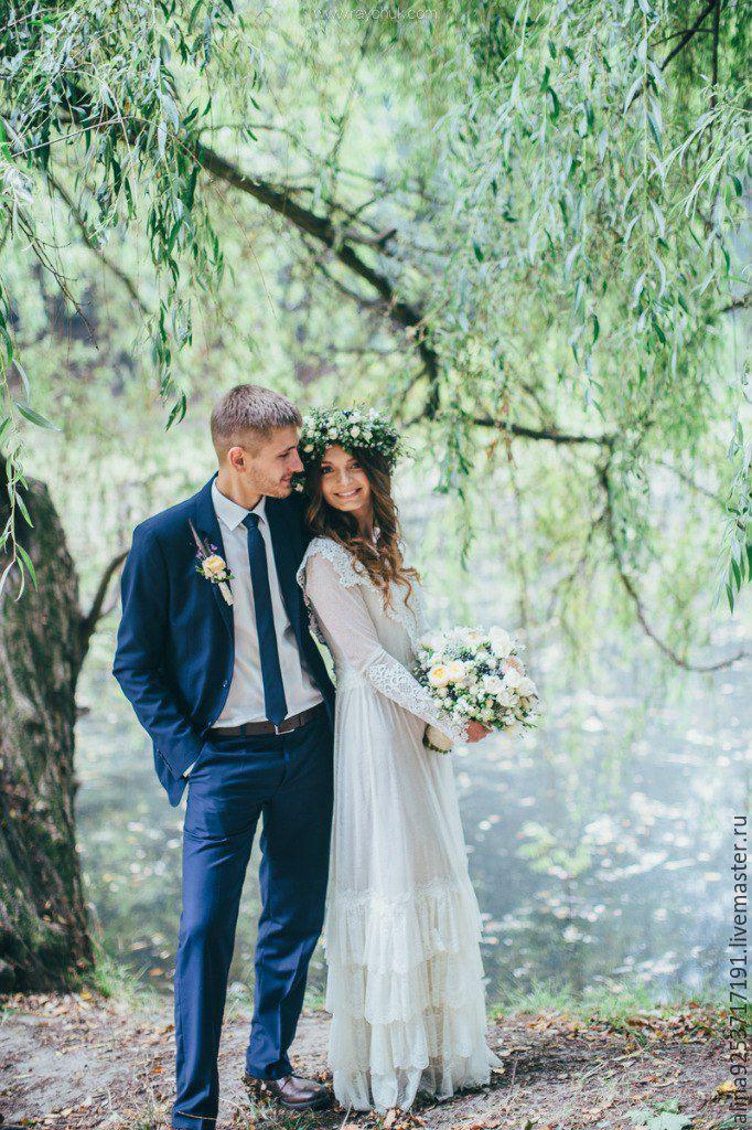Купить Винтажное свадебное платье - бежевый, кружевное платье, винтажное платье, свадебное платье