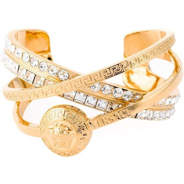 Versace '#Greek' embellished bracelet (709 CAD) ❤ liked on Polyvore featuring jewelry, bracelets, metallic, versace bracelet, versace, metallic jewelry, gold tone bracelet and bracelet bangle