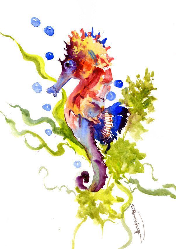 Seahorse Art Original Watercolor Yellow Orange Red Art Marine