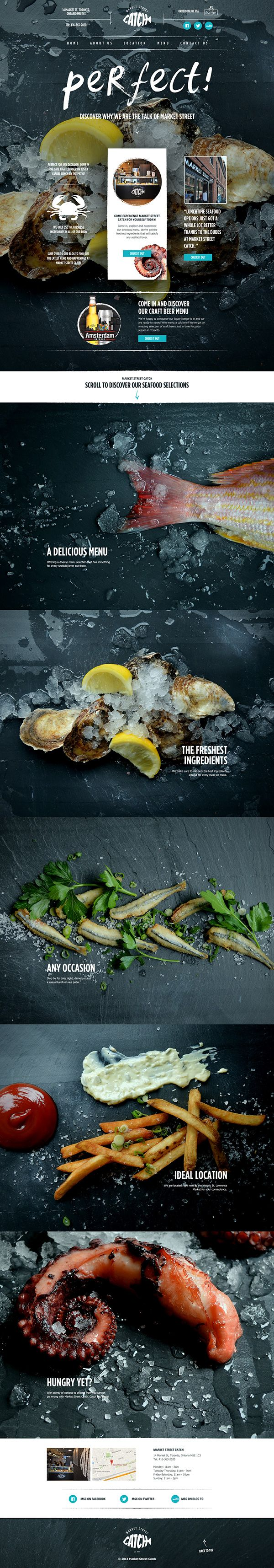 Website for Market Street Catch, a seafood restaurant in Toronto, Ontario. Réalité des images / cru / vraie nourriture