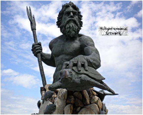 Статуя Нептуна черепаха Вирджиния-Бич / Color Neptune Statue turtle Virginia Beach by twilightdreamsart