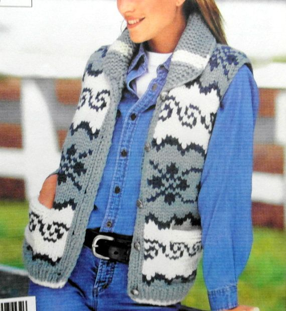 Cowichan Vest knitting pattern  white buffalo pdf by ChangingTide