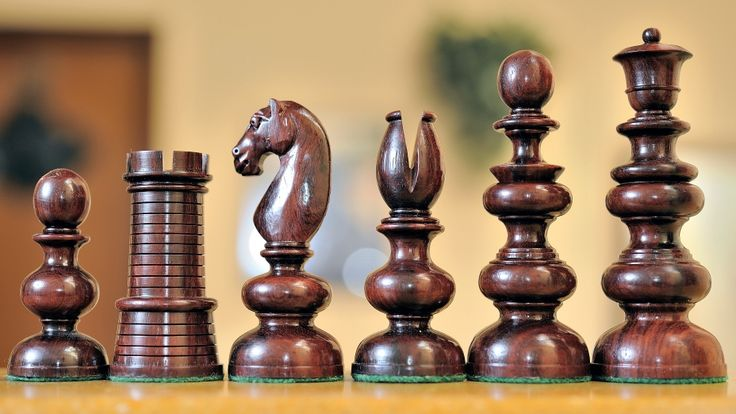 Reproduction Antique Calvert Chess Set Bud Rose Wood
