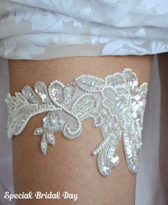 Jarretière de mariée Ivoire, Jarretière mariage dentelle, Sequins jarretière, ensemble de jarretière de mariée, perles rayées, Jarretière à la
