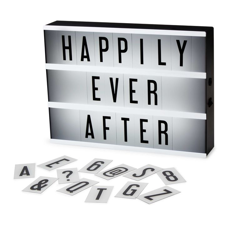 Write your own feature title with this retro light box and letter set.