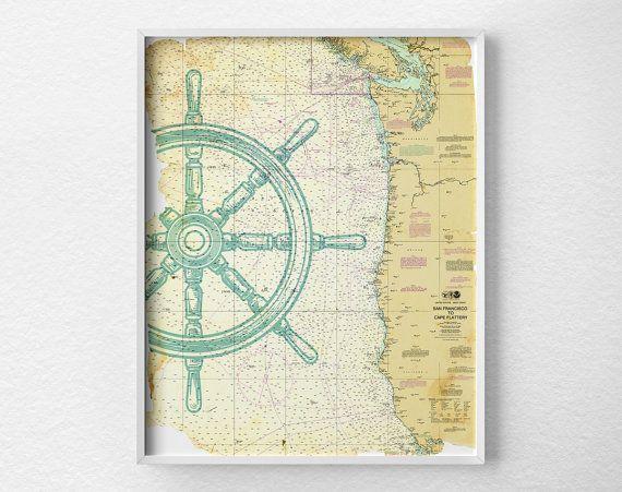Vintage Nautical Wall Decor: Nautical Map Art, Nautical Poster, Nautical Print, Sailing