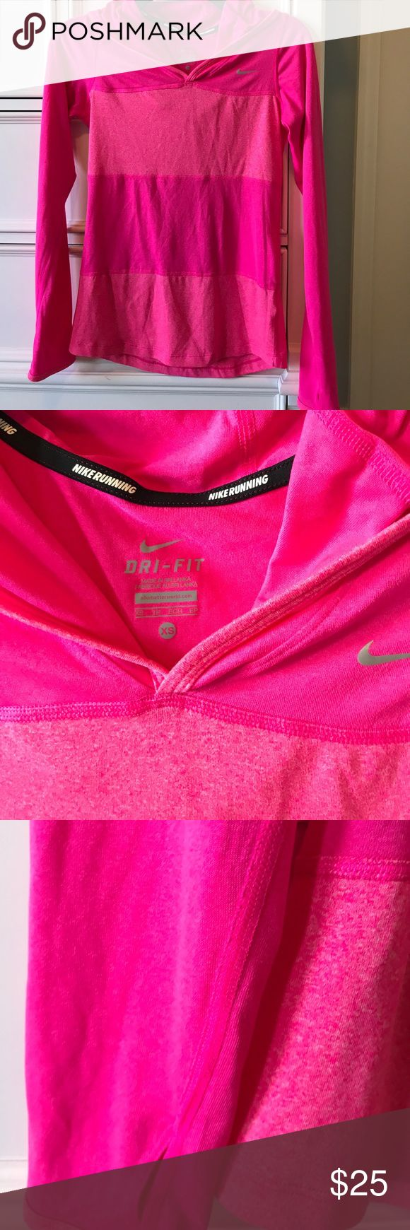 Nike Dry Fit Hooded Top Hot Pink Stripes Running This was only worn once because I'm terrible at going to the gym 😂 this is in great condition no flaws. Size XS. This is lightweight and has a good and thumb holes to keep your hands warm and sleeves down when running. Perfect for layering when working out/running. 🌸bundle and save!🌸 Nike Tops Sweatshirts & Hoodies