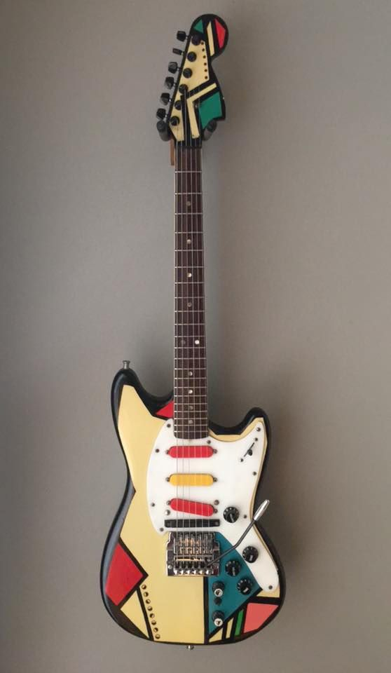 Adrian Belew's  Twang Bar King Fender Mustang.  painted by Mike Getz in 1983