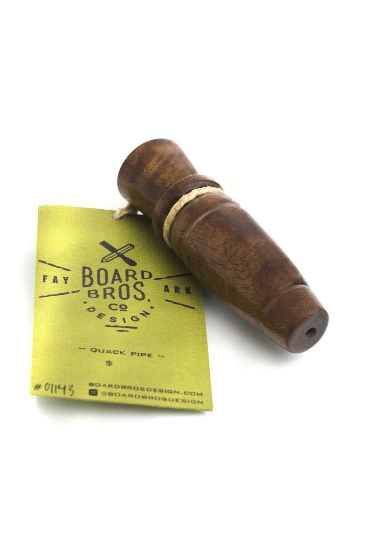 "This one hitter/chillum from BoardBros design is redefining what we think of one hitters. Typically considered a cheap option and nothing more, one hitters are often overlooked. This gorgeous piece here is to change people's minds – and it does so with a whole lotta' style. Featuring a clever name, the ""quack pipe"" is carved into the shape of a duck call. For what it's worth, we definitely don't recommend you use it for anything rhyming with ""quack""."