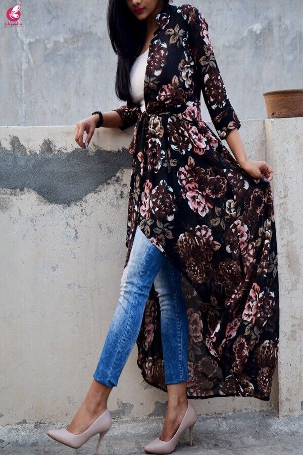 39c1839c3ec26 Black Multicolor Georgette Floral Long Shrug | kurti with jeans in 2019 |  Long shrug, Kurti with jeans, Fashion