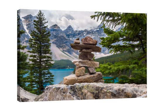 Moraine Lake Inukshuk Canvas Wall Art by CanvasingtheOutdoors