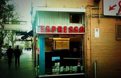 Eat and drink in Melbourne:  Pellegrinis Espresso Bar  66 Bourke Street  Melbourne VIC 3000  (03)9662 1885