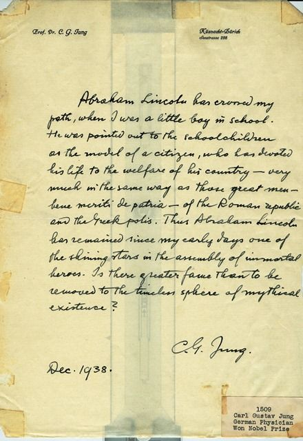 Carl Jung's letter written in 1938 about Abraham Lincoln