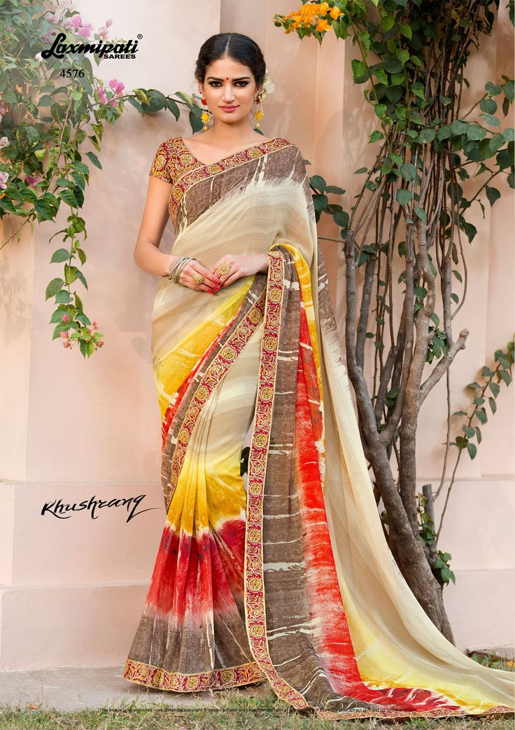 Buy this Picturesque Multi Colored Designer Printed #Georgette_Sarees and Multicolor Bhagalpuri Blouse along with Fancy Printed Bhagalpuri Lace Border by #Laxmipatisarees. #Catalogue-#KHUSHRANG #Designnumber-4576 #Price - ₹ 1600.00