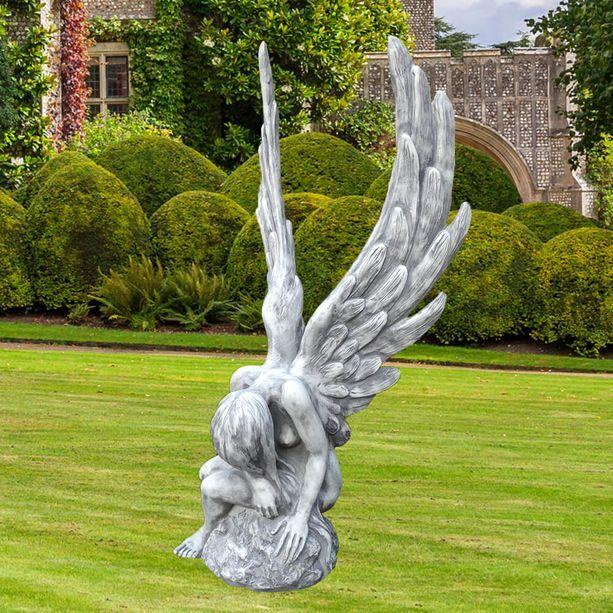Engel Gartenfigur Ambriel Aus Stein Sitzend