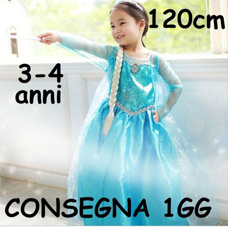Maschera Carnevale Vestito Costume principessa Elsa regno di ghiaccio Frozen taglia 3 4 5 6 7 8 anni Bambina