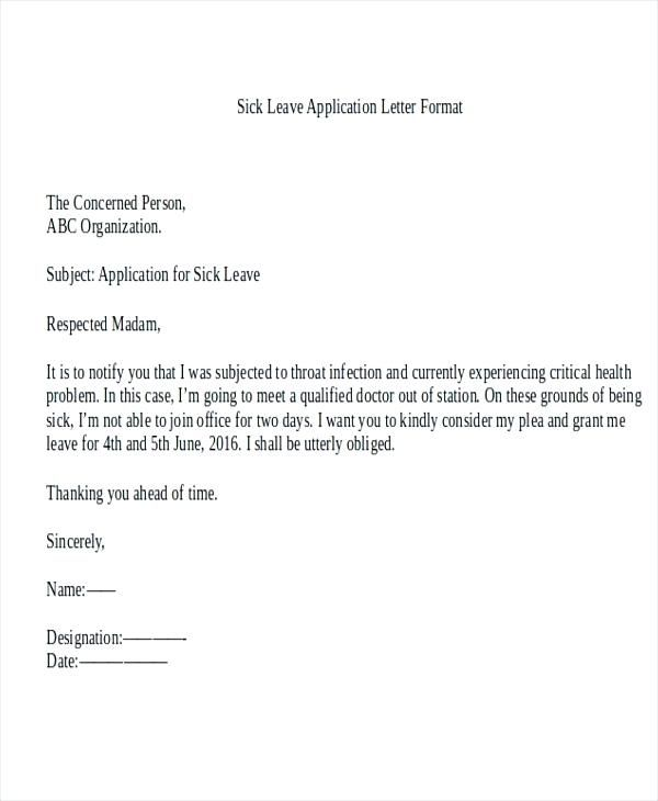 Application For Sick Leave In School By Parents By Sick Leave