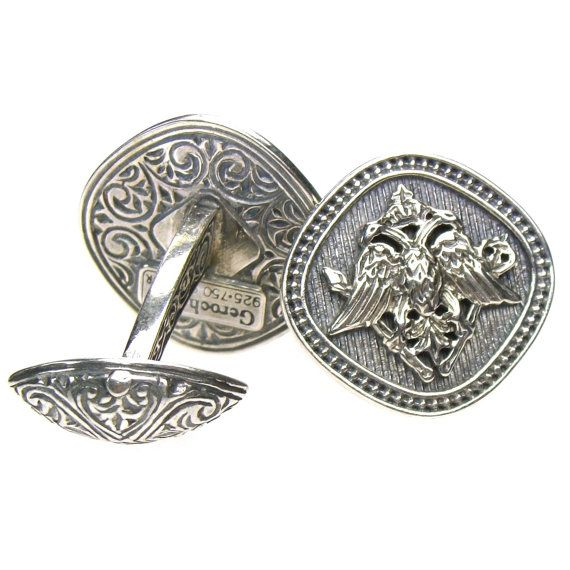 sterling silver engraved cufflinks, byzantine double- headed eagle. on Etsy, $174.36