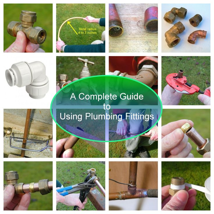 A basic guide to pipe types, plumbing fittings, thread sizes and how to use fittings to connect copper, PVC and PEX pipe #DIY #plumbing #homeimprovement #sinks #toilets #showers #baths #bathroom