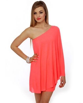 http://fashion881.blogspot.com - love the color: Birthday Dresses, Dreams Closet, One Shoulder Dresses, Color, Neon Dresses, The Dresses, Summer Night, Sexy Neon, Coral Dresses