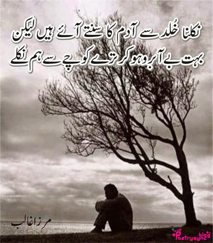 Sad Ghalib Shayari nikalna khuld sy aadam ka sunty aaye hain lekin