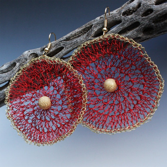 Crocheted Wire Round Earrings In Red And Gold by Aliona K