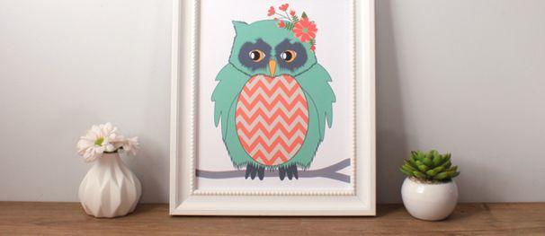 FREE Owl Nursery Art, Whimsy Woodland Owl Art