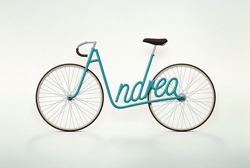 How cool is this? Graphic designer Juri Zaech's Write a Bike project is a series of bicycle renderings where the frame spells out people's names.