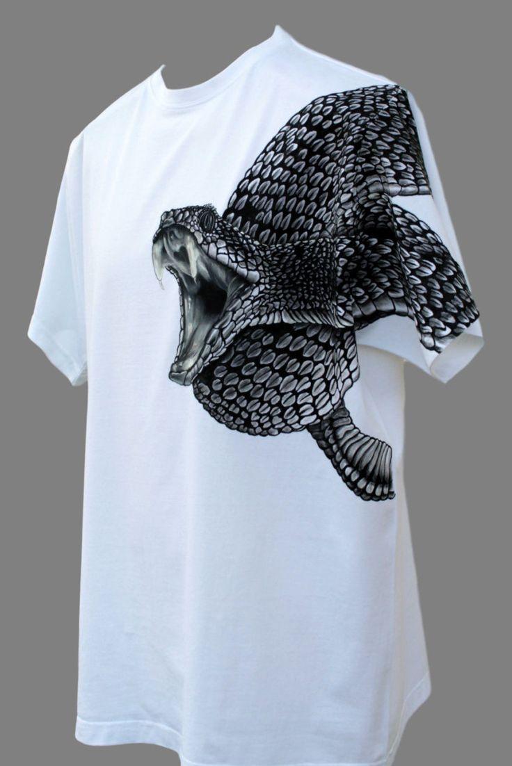 T shirt handmade design - Hand Painted T Shirt Snake Viper Hand Made T Shirt T Shirt For Men Gift For Men Painting Original Unique T Shirts Original Art Made To Order