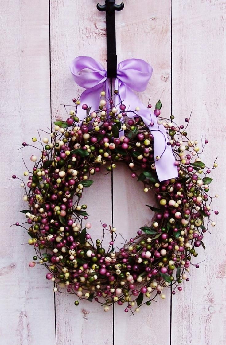 Spring Wreath-Spring Door Wreath-Front Door Wreath-Outdoor Wreath-LAVENDER LILAC Berry Door Wreath-Spring Decor-Country Chic Decor. $69.00, via Etsy.