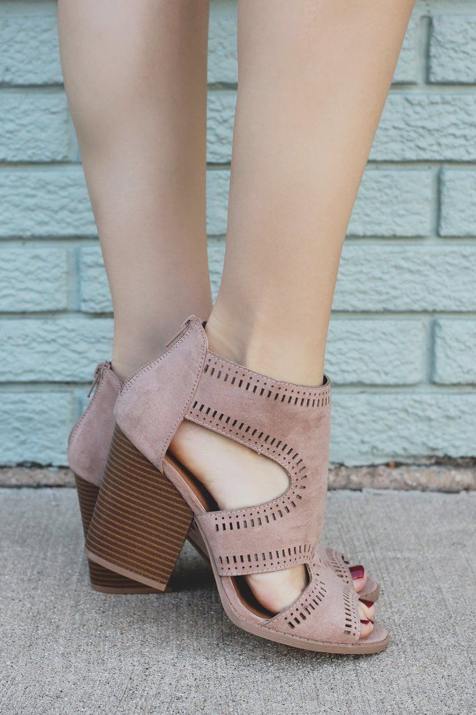 Taupe Faux Suede Open Toe Cutout Heel Barnes-84A – UOIOnline.com: Women's Clothing Boutique