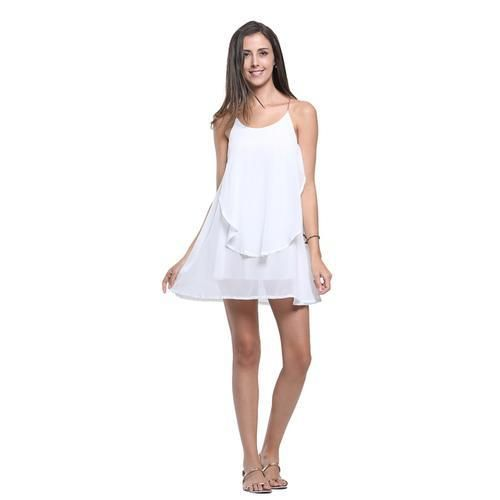 White Chain Spaghetti Strap Back Cross Asymmetric Hem Dress D902-DRES0720B377K