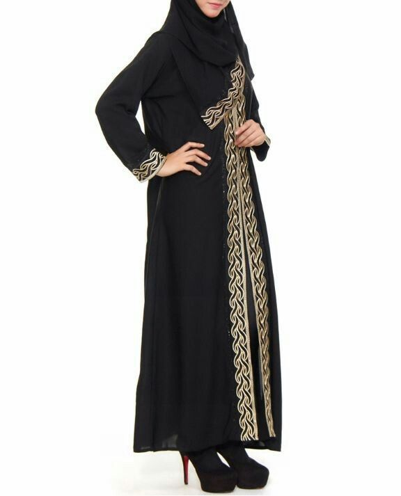 Jubah hitam emas dubai freira