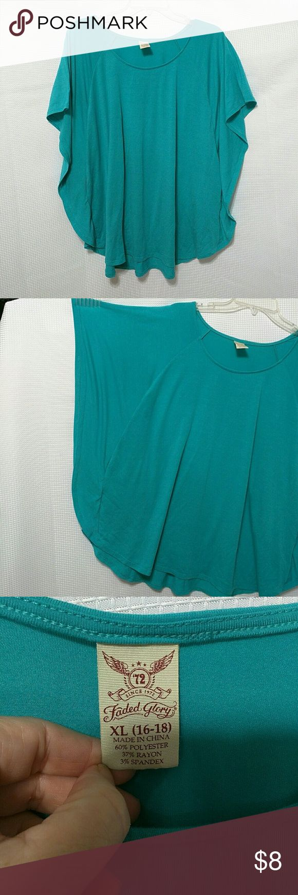 Turquoise Green Batwing Top XL XL (16-18) Very Soft Batwing Top turquoise green, polyester, rayon, spandex. Machine wash. Tops