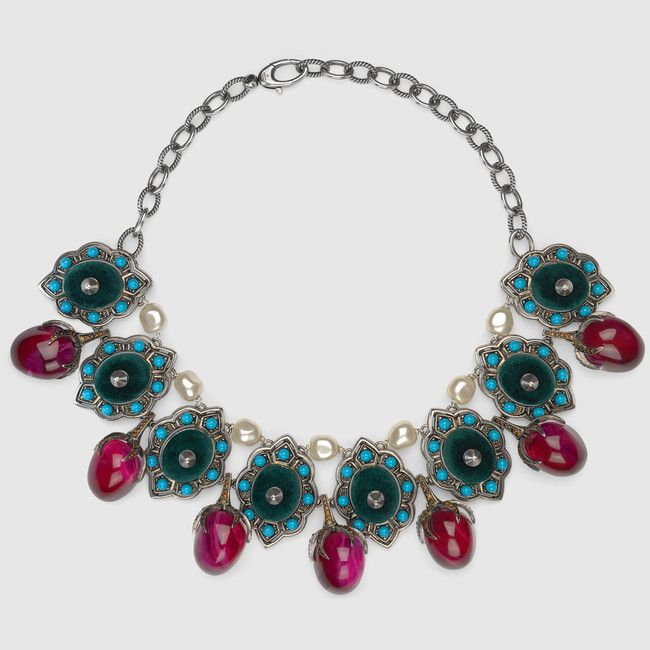 Gucci Velvet necklace with crystals and beads 6xXEIu