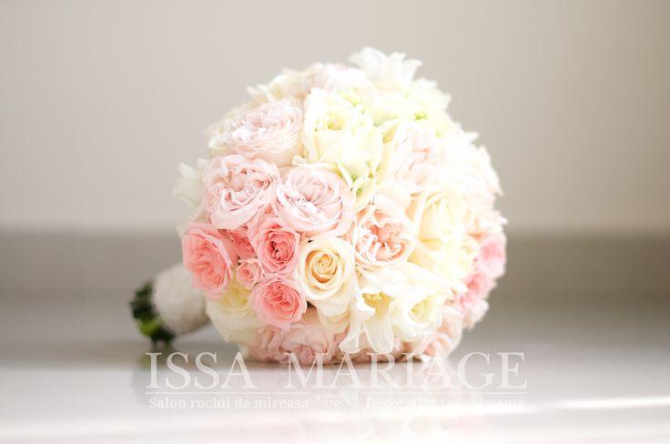 buchet mireasa trandafiri roz pal