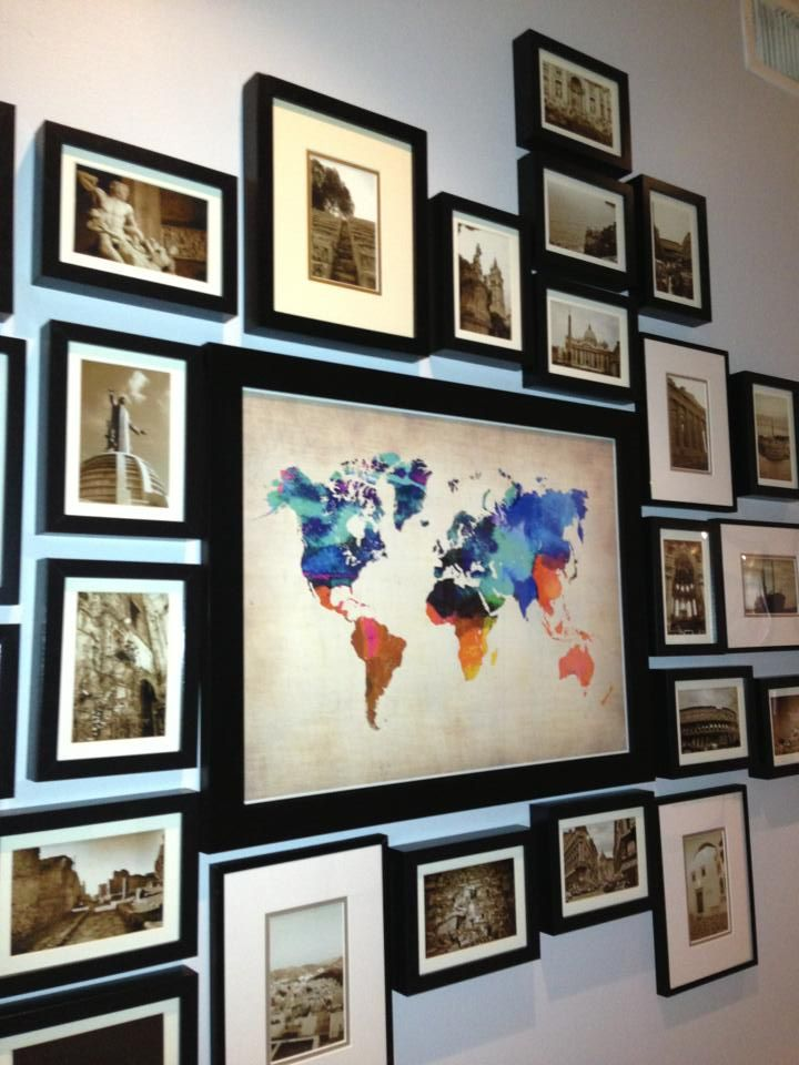 World map surrounded by photos from your travels. Love it!