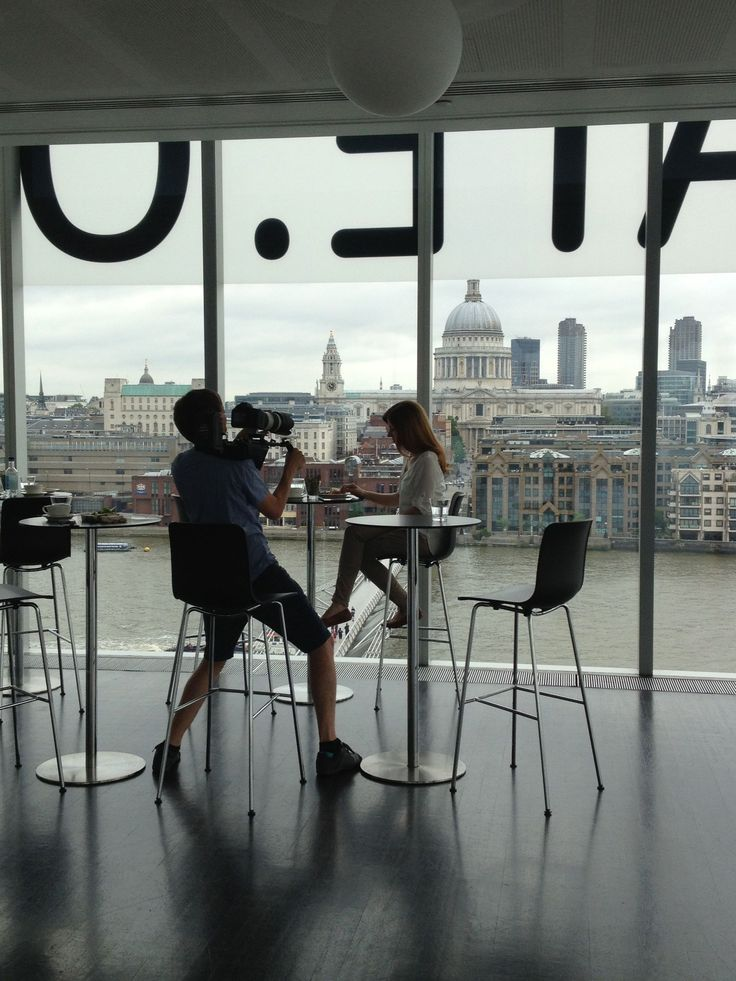 In the Tate Modern cafe - can't think of a better place for an amazing video shoot! You can see the shot of St Paul's in the video here: vimeo.com/73779352 #Gneo