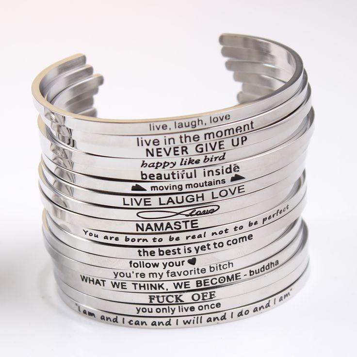 2017 Nieuwe Rvs Gegraveerd Positieve Inspirational Citaat Hand Stamped Manchet Mantra Armband Voor Vrouwen Beste Geschenken