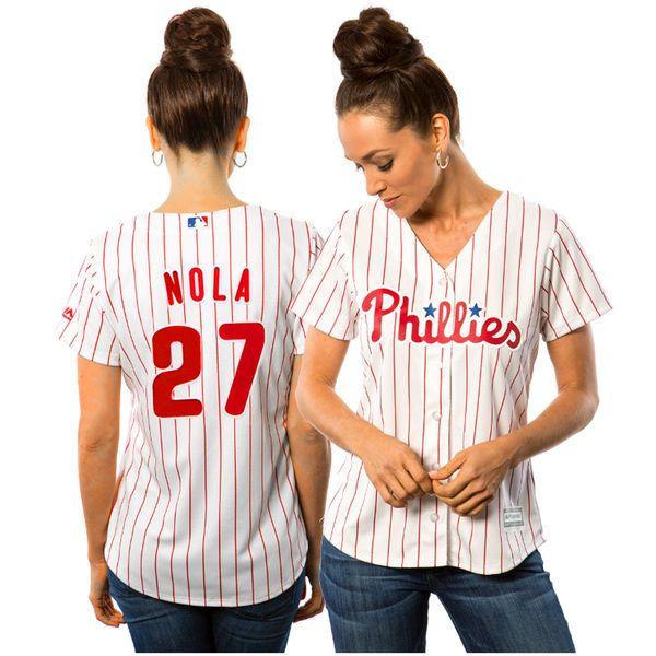 Aaron Nola Philadelphia Phillies Majestic Women's Cool Base Player Jersey - White - $99.99