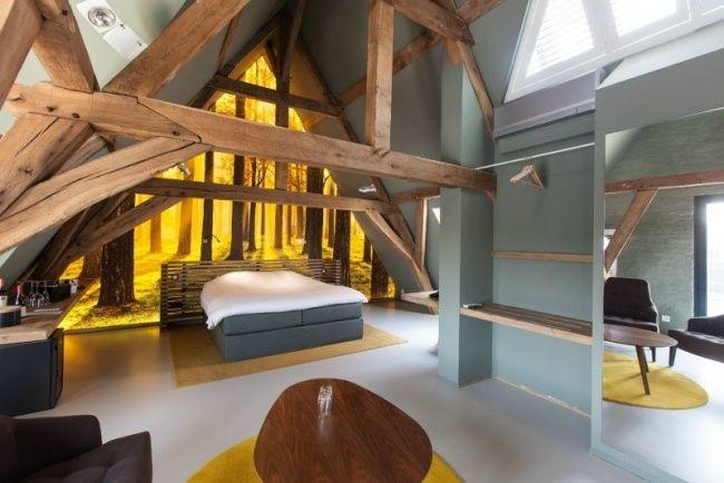 schlafzimmer fototapete sonne wald holz dachsparren satteldach, Schlafzimmer ideen