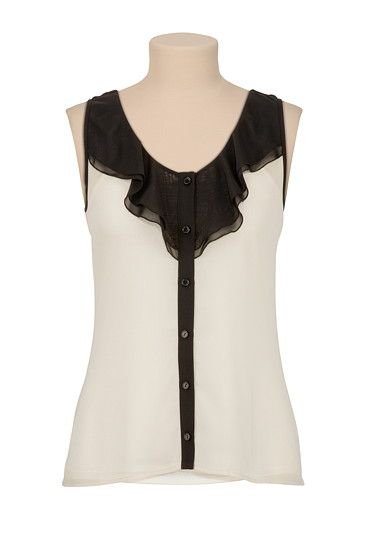 Ruffle Button Front Tank - Can't wait to find this in coral in my size.  I love this top!