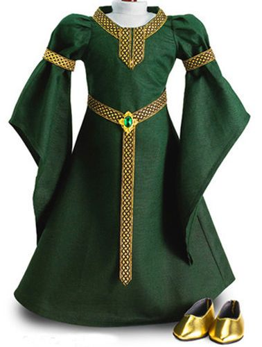 """Green CELTIC PRINCESS DRESS + SHOES made for 18"""" American Girl Doll Clothes"""